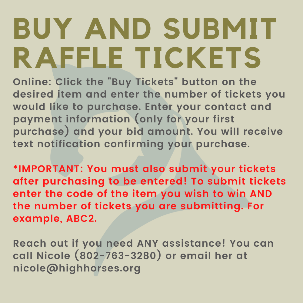 graphic explaining how to buy and submit raffle tickets